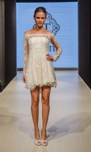Vestidos curtos são românticos e dão ar vintage à noiva;