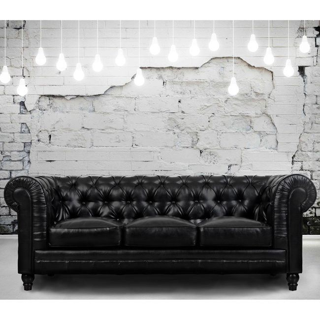 Vintage Black Leather Chesterfield Sofa: 25+ Best Ideas About Black Leather Sofas On Pinterest
