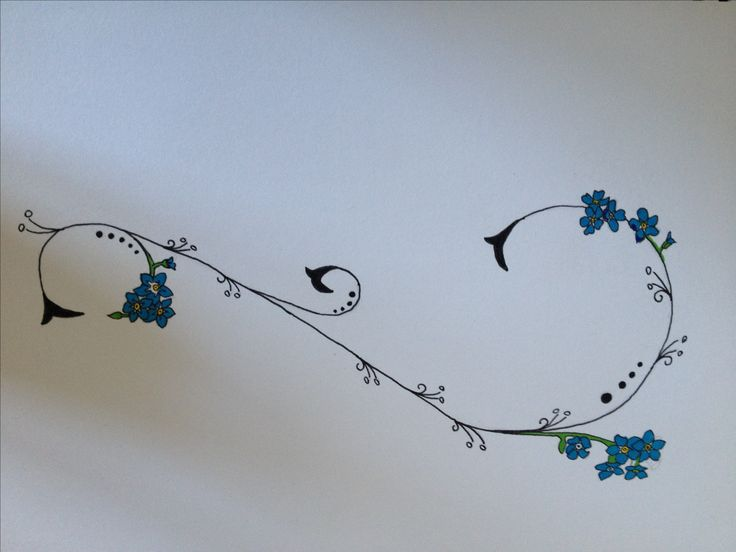 Forget me not, swirl tattoo to go on my thigh