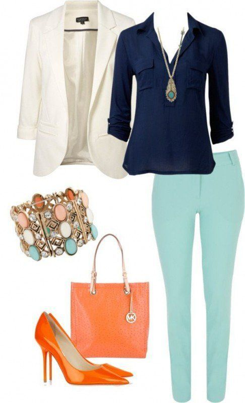 Love this look, including the colors.  Not a fan of that style bag or pointy stilettos tho.