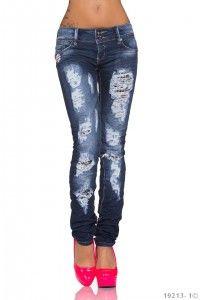 Dámské stylové roztrhané džíny v módním střihu