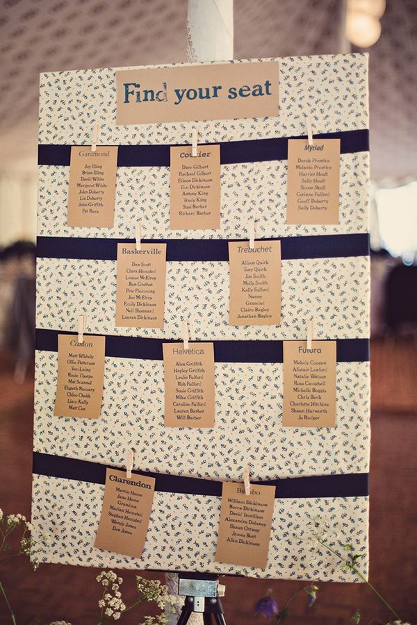 wedding seating plan ideas pretty fabric and brown kraft card