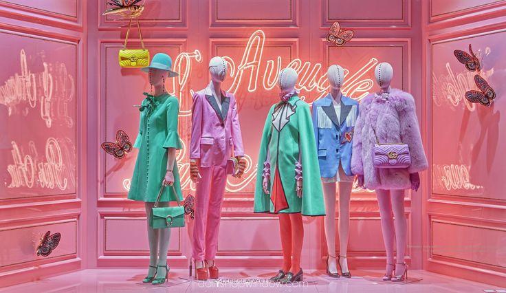 Les Galeries Lafayette x Gucci, August 2016, Paris by dailyshopwindow #visualmerchandisingtrends #visualmerchandising #vm #windowdisplay #window