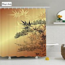 Shower Curtain Japanese Bathroom Accessories Asian Branches Of Bamboo Bushes Nature Decor Beige Black 180*200 cm