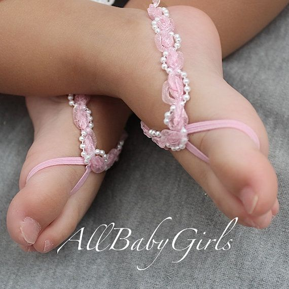 Pink with Pearls Baby Barefoot Sandals for any Age by AllBabyGirls, $10.97