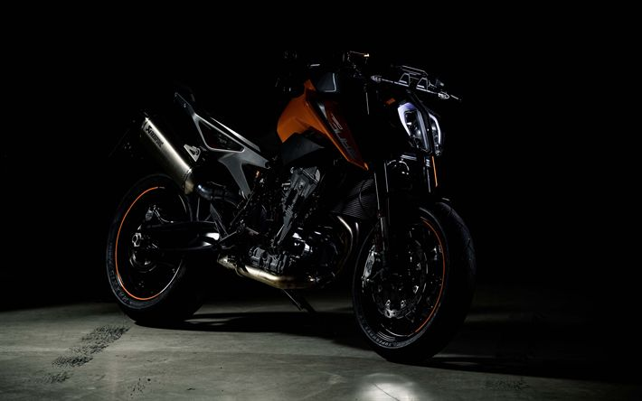 Download wallpapers KTM 790 Duke, 4k, darkness, 2019 bikes, 790 Duke, superbikes, KTM