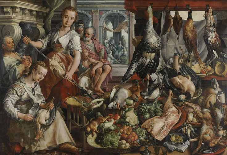 Joachim Bueckelaer | The Well-stocked Kitchen, Joachim Bueckelaer, 1566 | De welvoorziene keuken, met op de achtergrond Jezus bij Martha en Maria. In de keuken zijn twee dienstmeiden bezig met het bereiden van eten. De een plukt een kip, de ander rijgt een kip aan het spit. Links zitten anderen bij de haard. Op de voorgrond liggen allerlei soorten wild en gevogelte, groenten en vruchten uitgestald. Hiertussen ook verschillende glazen, kruiken, kannen en borden.