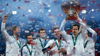 Andy Murray leads Great Britain to victory in the Davis Cup. The first British win in this event since 1936, when Fred Perry & Bunny Austin guided Britain to victory!