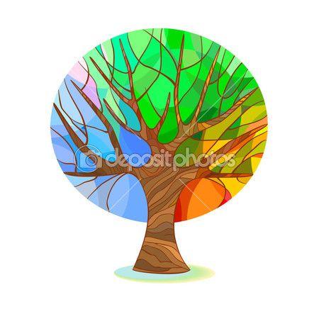 Стилизованное дерево - четыре времени года — Векторное изображение © Mayamy #38682101