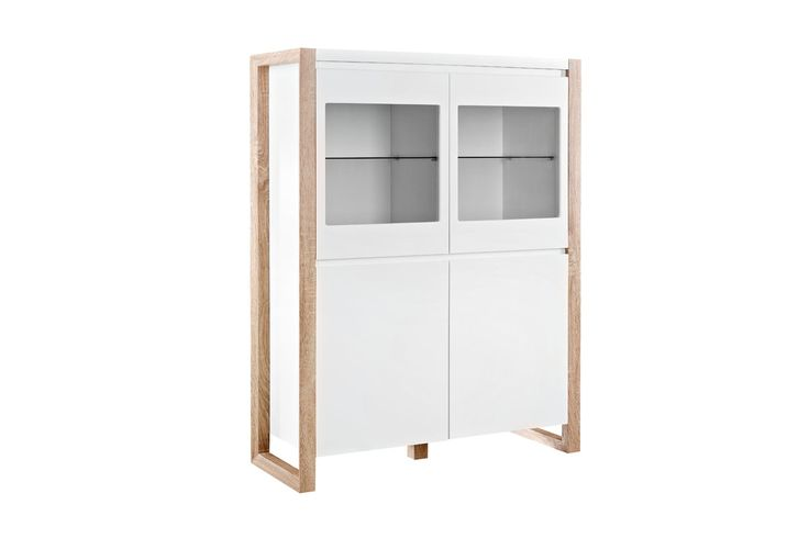 vente mobilier laqu contemporain 18470 buffets et vitrines vitrine 4 portes genf blanc. Black Bedroom Furniture Sets. Home Design Ideas