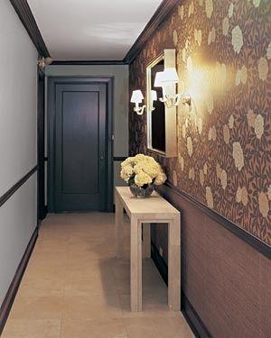 Decor idea for long narrow hallway-  half wallpaper and half wainscotting