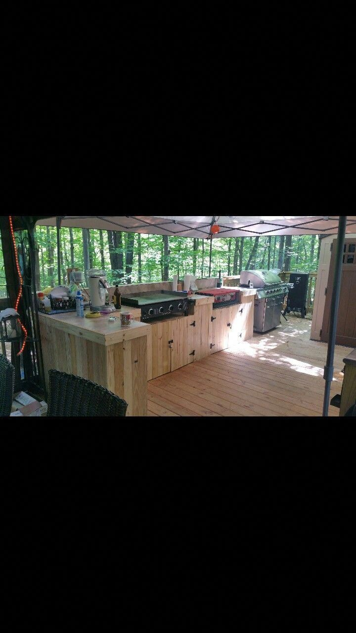 Rv Deck Outdoor Kitchen With Out Door Griddle Stove Top And Grill Outdoor Cooking Station Outdoor Stove Outdoor Kitchen