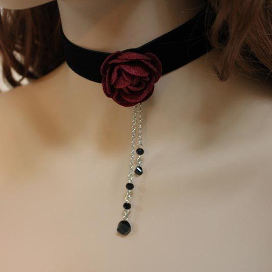 Black Velvet Red Rose Victorian Choker
