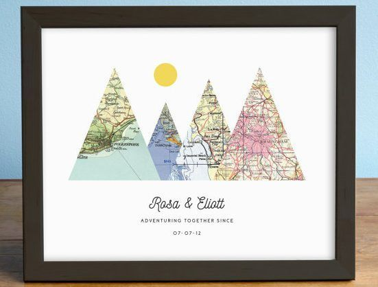 A Mountain Map Gift For The Adventurous Unique Wedding Gifts Who Has Everything Pe Agierdesign