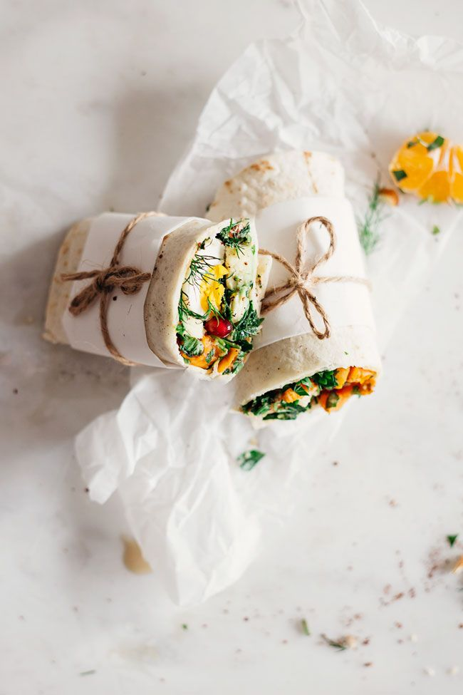 Easy wrap with sweet potato salad and soft boiled egg #lunch #wrap | TheAwesomeGreen.com