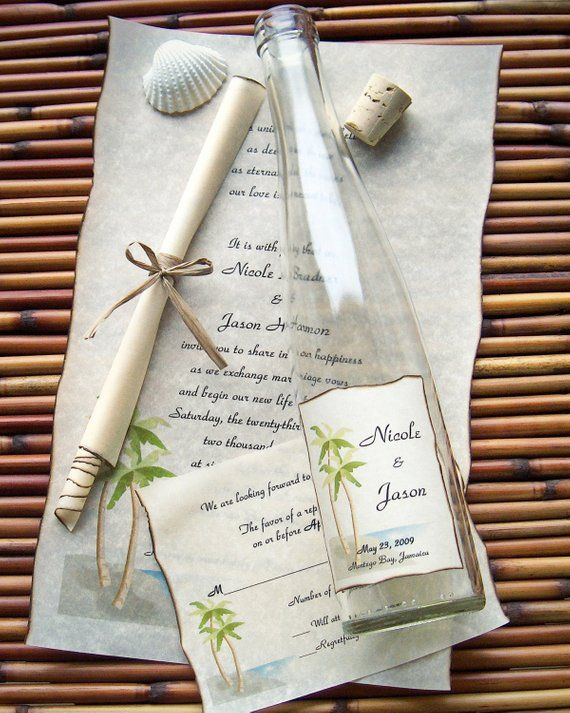 Message In A Bottle Premiere Wedding Invitation Sample