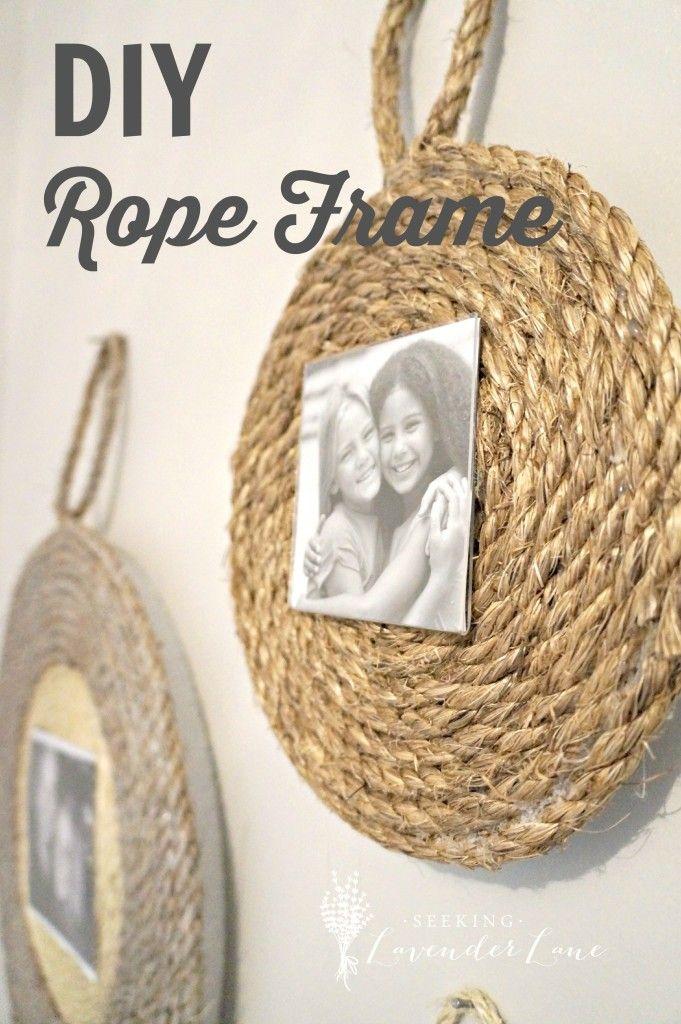 Loving this diy rope frame via seeking lavendar lane diyropedecor homedecor home decor Diy beach home decor pinterest