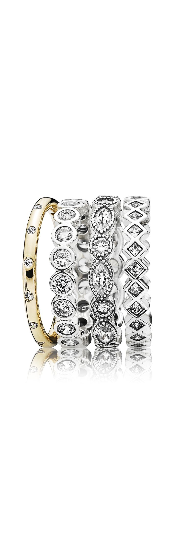 Ine design stone 187 other products - Amazing Ring Stack In Gold And Silver With Sparkling Stones Pandora Pandoraring