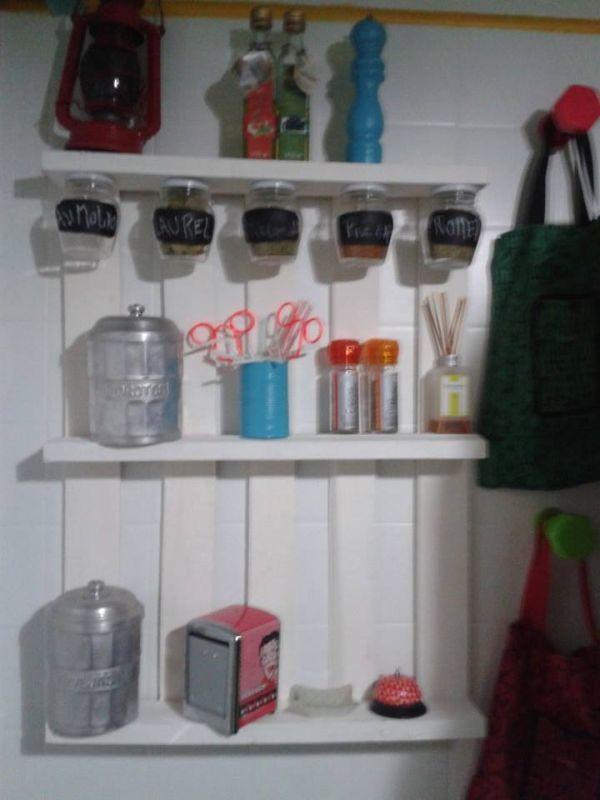 Pallet reciclado cocina estantes especiero lavadero - Estantes de cocina ...