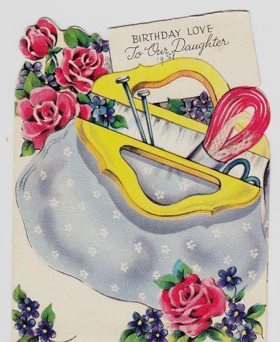 Knitting Birthday Card : Vintage knitting bag birthday greeting card