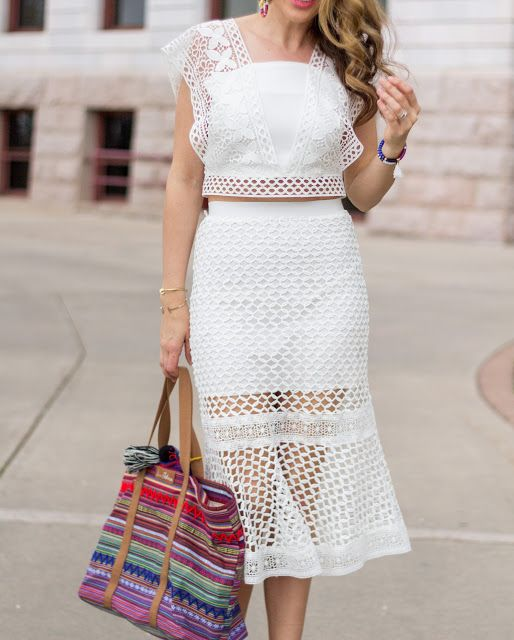 Obsessed with this white crochet two-piece set!!
