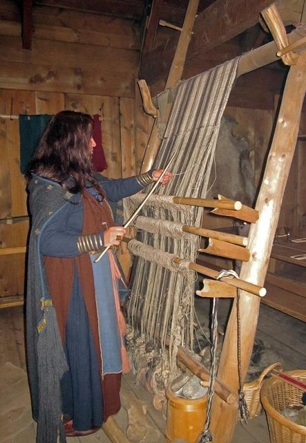 warp weighted loom and a whalebone weaving sword