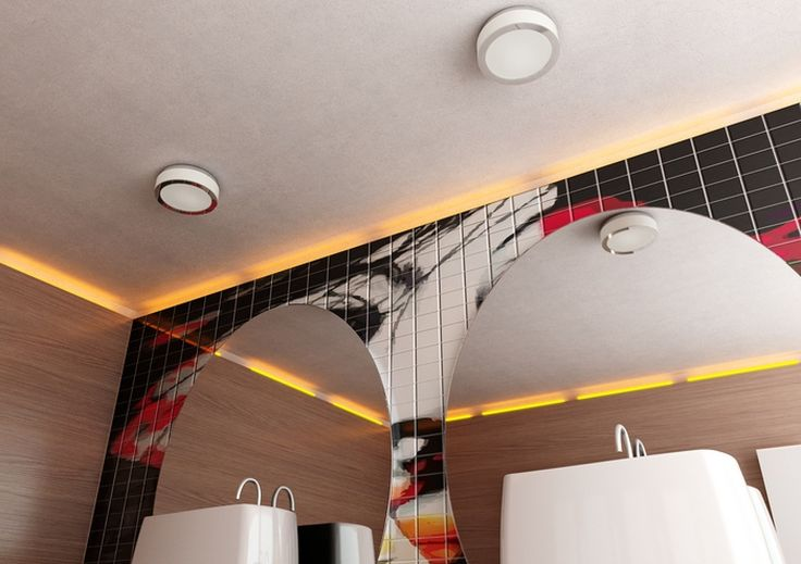 KARISMA | rendl light studio | Ceiling light for compact fluorescent tubes of opal-colored glass, chrome and with an decorative trim of mirror glass. #lamp #ceiling #bathroom