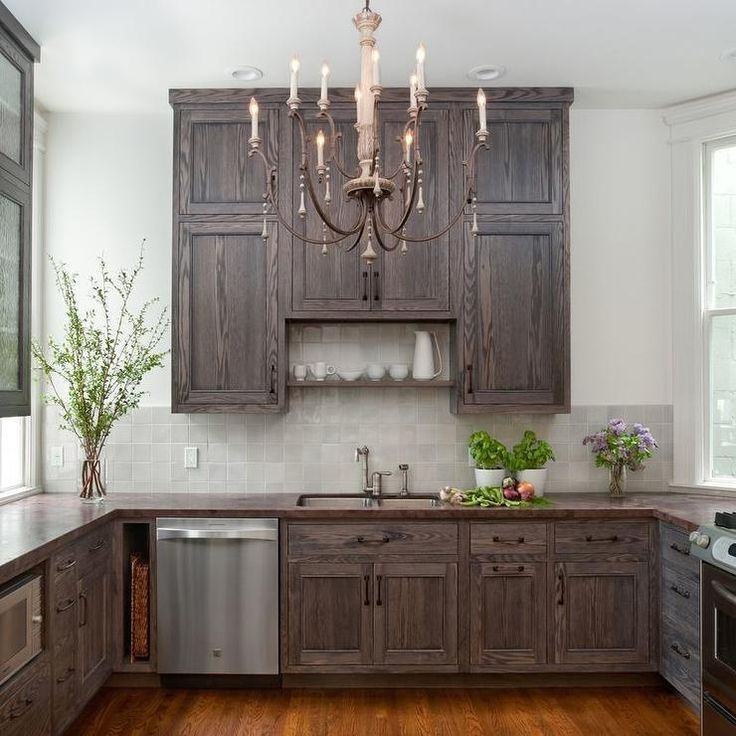 Image result for red oak cabinets stained with grayish ...