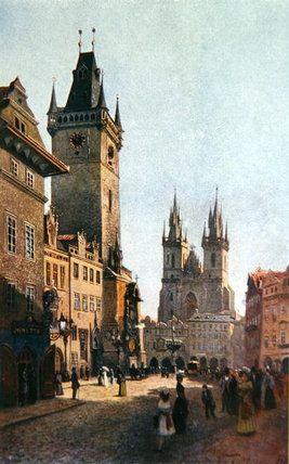 Vue de Staroměstský Rynk avec l hôtel de ville et de Vaclav Jansa (1859-1913, Czech Republic)