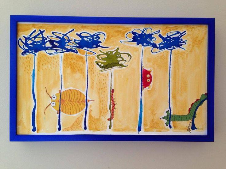 Tableau pour chambre d'enfant, avec cadre bleu, abstrait, jolies petites bestioles, encre, acrylique et crayon feutre de la boutique Gabycompagnie sur Etsy