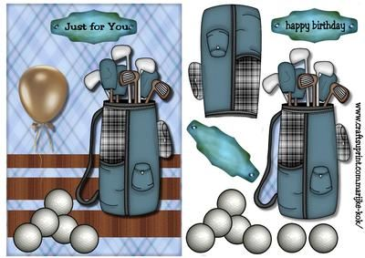 Birthday Boy male card Golf on Craftsuprint designed by Marijke Kok - Great card for a boy,male,men,other... - Now available for download!