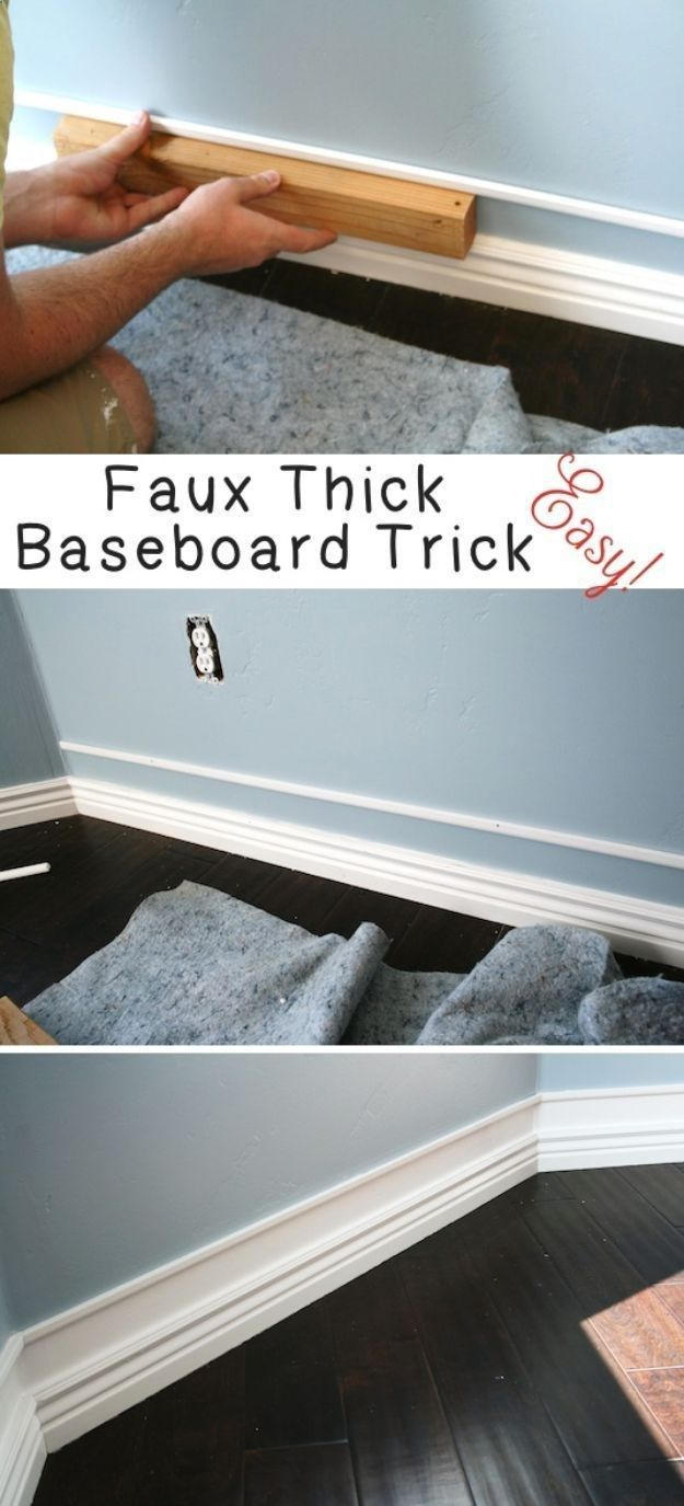 DIY Home Improvement On A Budget - Faux Thick Baseboard - Easy and Cheap Do It Yourself Tutorials for Updating and Renovating Your House - Home Decor Tips and Tricks, Remodeling and Decorating Hacks - DIY Projects and Crafts by DIY JOY diyjoy.com/... #homeimprovement