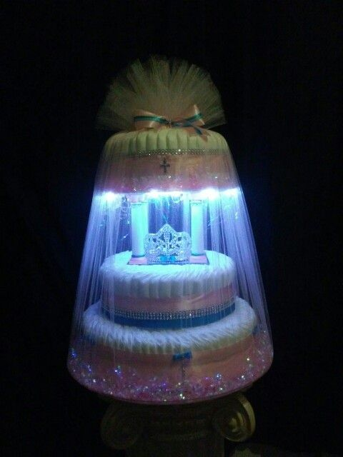 Iii Tier Light Up Diaper Cake In Robins Egg Blue N Pink