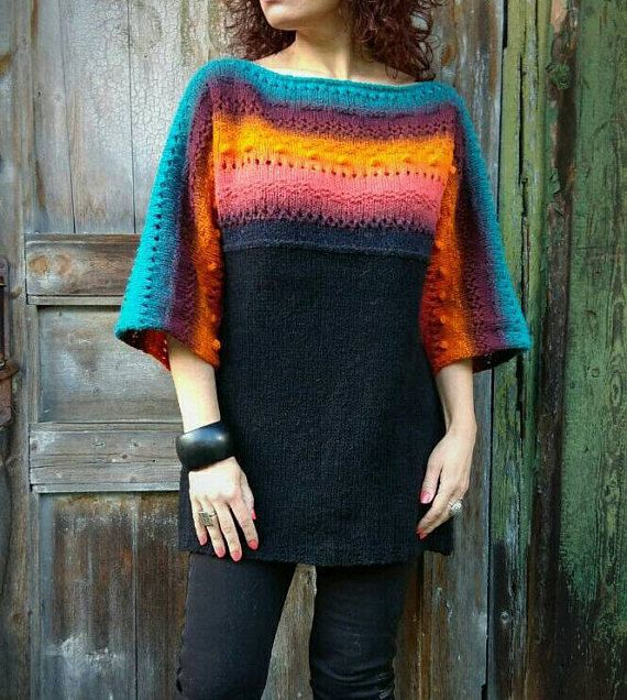 Rainbow Knit Sweater Oversized Sweater Chunky Sweater Dress