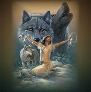 Wolves with Indian maiden