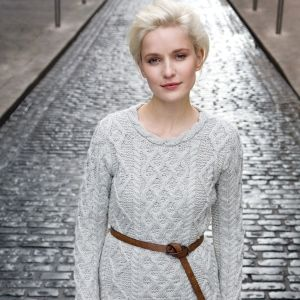 Lattice Cable Lambay fitted Aran Sweater by Irelands Eye Knitwear Autumn Winter 2015.