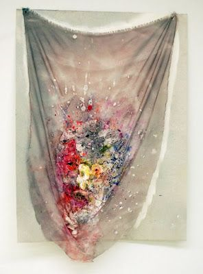 Rachel Niffenegger floral textile piece.Watercolor, acrylic, spray-paint, plaster and mixed media on fabric on paper