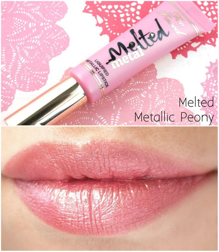 """The Happy Sloths: Too Faced Melted Metal Liquified Metallic Lipstick in """"Melted Metallic Peony"""" & """"Melted Metallic Violet"""": Review and Swatches"""