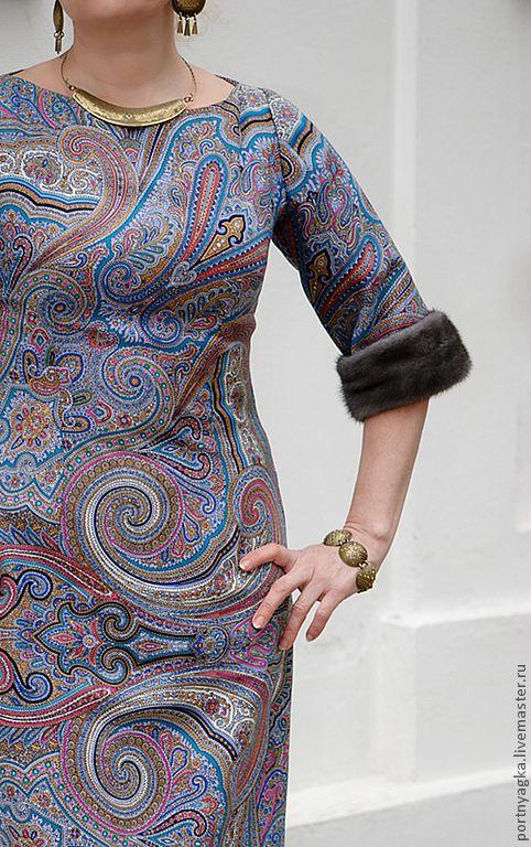 Купить Платье ДРАГОЦЕННАЯ из П/П платка - павловопосадские платки, пейсли, платье футляр