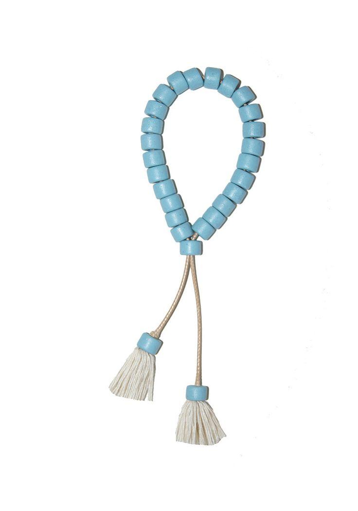 Ceramic Beaded Cord Bracelet with tassels - Powder - Indigos Market