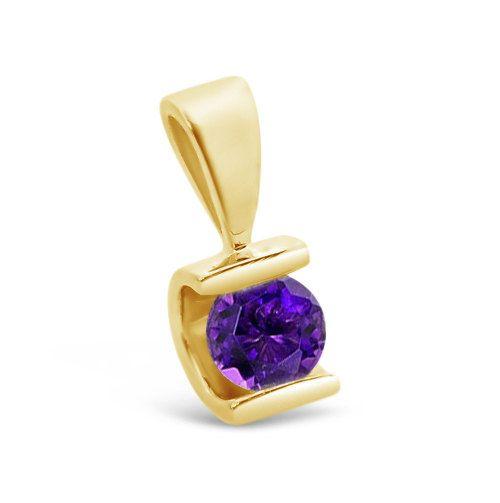 1/2 ct Améthyste Pendentif - pendentif en or jaune 14K-améthyste collier-femme bijoux-pierre de naissance collier-0,50 Carats topaze bleue-ici