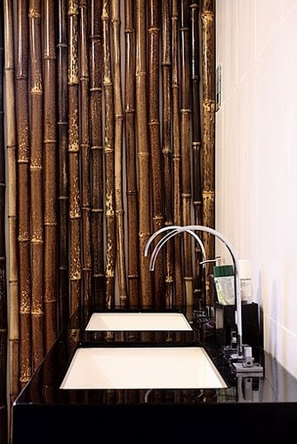 Real bamboo divider bamboo bathroom asian bathroom for Bamboo bathroom design