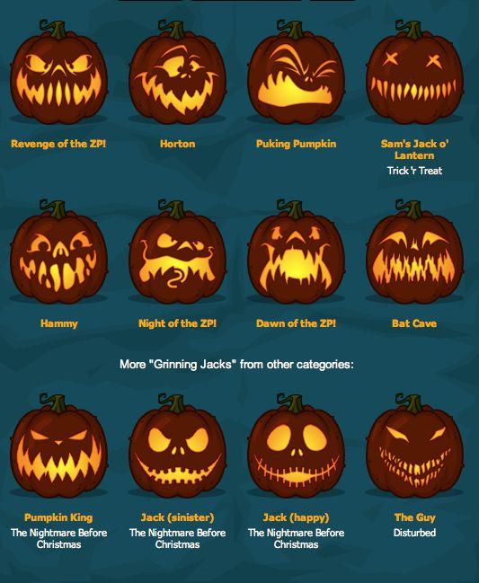 Zombie Pumpkins! The BEST pumpkin carving templates around!