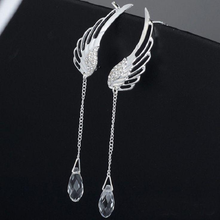 2015 Angel Wing Silver Plated Clip On Earrings Ear Cuff Jewelry Long Tassel Clamp Ear Cuffs For Women Cartilage Earrings EH32
