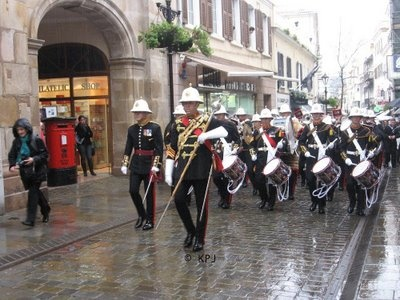 The band of the Royal Marines, Main Street, Gibraltar