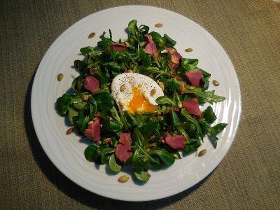 Cuisine de Line: SALADE DE GESIERS CONFITS ET SON ŒUF POCHE