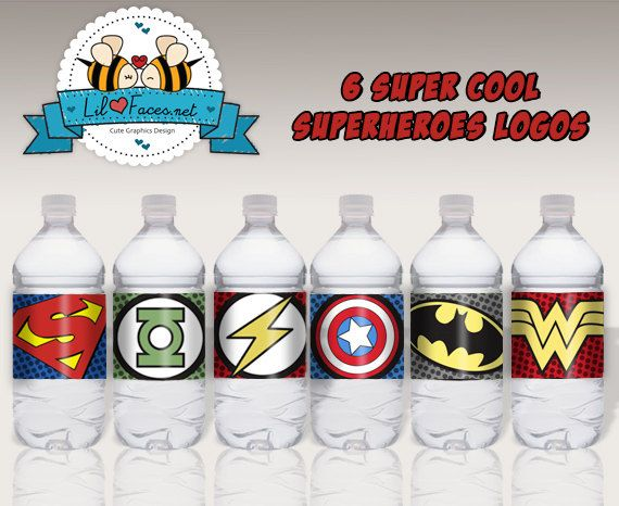 Superheroes Collection Water labels/Napkin by LilFacesPrintables, $5.95