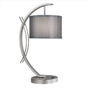 Amazon.com: Eclipse 1 Light Table Lamp Shade Color: Grey, Base Finish: Satin Nickel: Lamps & Light Fixtures