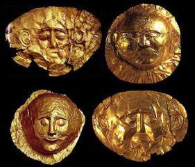 Máscaras funerarias micénicas, Museo Arqueológico Nacional, Atenas