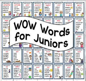 """This file consists of 40 WOW Word Posters - 2 per page Height 7.4"""" by Width 4.8'A VERSION OF WOW WORDS FOR OLDER STUDENTS IS AVAILABLE THROUGH THIS LINKSynonyms or WOW Words for Said quietly, Said loudly, Asked, Answered, Laughed, Cried, Disagreed, Agreed, Happy, Sad, Scared, Clever, Worried, Funny, Big, Small, Bored, Complained, Shy, Proud, Excited, Surprised, Curious, Angry, Fast, Slow, Hot, Cold, Friend, Love, Mean, Kind, Saw, Next, Ran, Walked, Good, Bad, Bad, Great.This is a 20 page PDF…"""